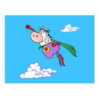 Dibujo animado estupendo de la vaca postal
