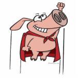 dibujo animado estupendo del cerdo del super héroe esculturas fotograficas