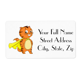 Dibujo animado estupendo del gato etiqueta de envío