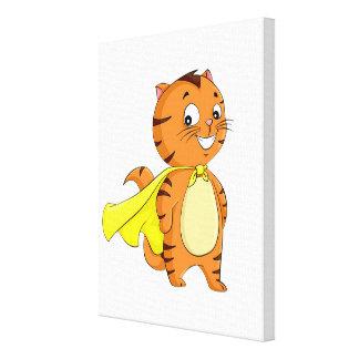 Dibujo animado estupendo del gato impresión en lienzo