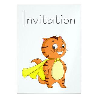 "Dibujo animado estupendo del gato invitación 4.5"" x 6.25"""