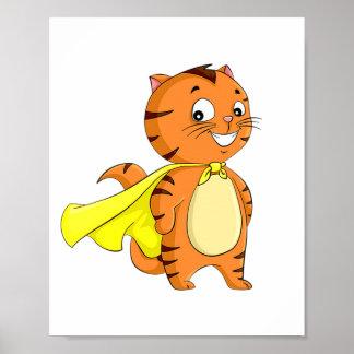 Dibujo animado estupendo del gato póster