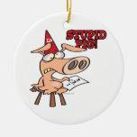 dibujo animado estúpido del cerdo del tonto del ce ornamentos de reyes