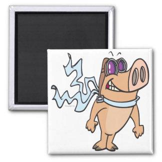 dibujo animado experimental del cerdo imán cuadrado