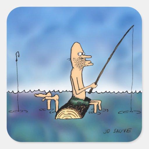 Dibujo animado extraño de la pesca del día pegatina cuadradas