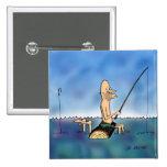 Dibujo animado extraño de la pesca del día pin