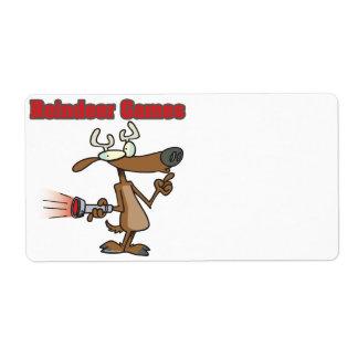 dibujo animado falso de Rudolph de los juegos del  Etiqueta De Envío