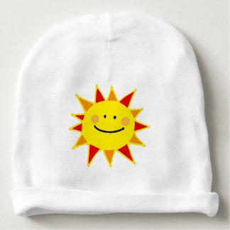 dibujo animado feliz amarillo lindo del sol gorrito para bebe