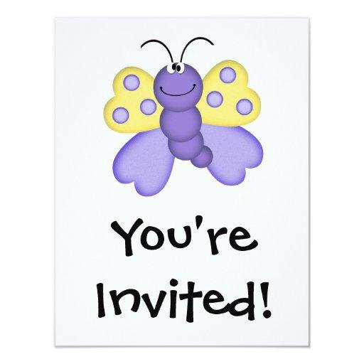 """dibujo animado feliz amarillo y púrpura lindo de invitación 4.25"""" x 5.5"""""""