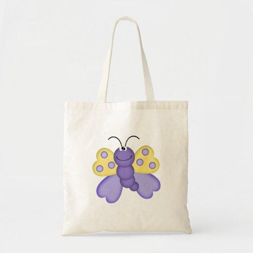 dibujo animado feliz amarillo y púrpura lindo de l bolsas de mano