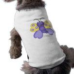 dibujo animado feliz amarillo y púrpura lindo de l camisetas mascota