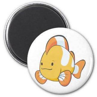 Dibujo animado feliz Clownfish Imán Redondo 5 Cm