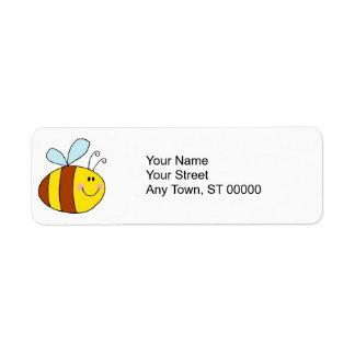 dibujo animado feliz de la abeja de la miel de la  etiquetas de remite