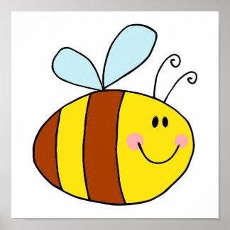 dibujo animado feliz de la abeja de la miel de la  póster