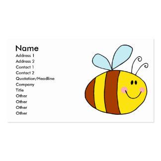 dibujo animado feliz de la abeja de la miel de la tarjetas de visita