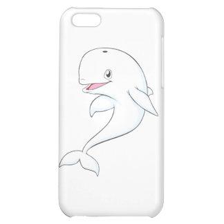 Dibujo animado feliz de la ballena de la beluga