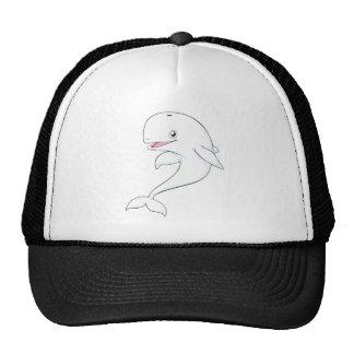 Dibujo animado feliz de la ballena de la beluga gorra