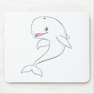 Dibujo animado feliz de la ballena de la beluga tapete de ratones