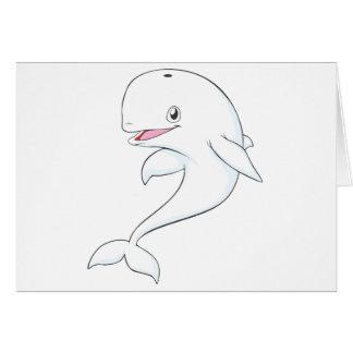 Dibujo animado feliz de la ballena de la beluga tarjetón