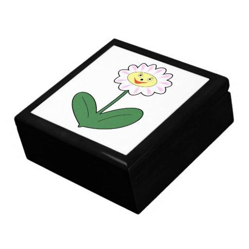 Dibujo animado feliz de la margarita caja de joyas