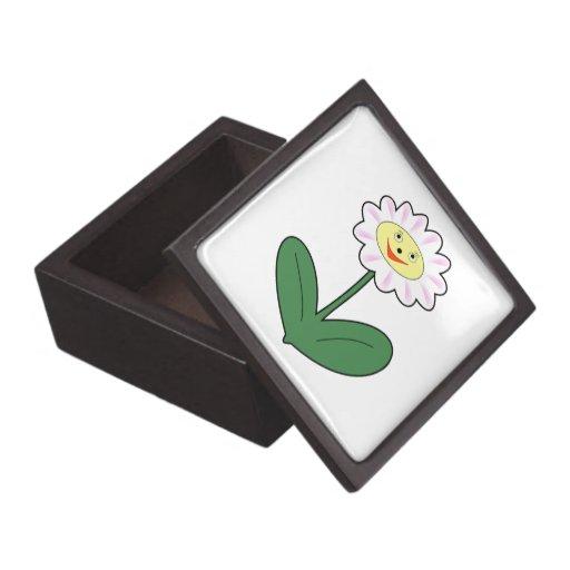 Dibujo animado feliz de la margarita caja de regalo de calidad