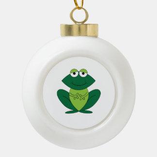Dibujo animado feliz de la rana adorno