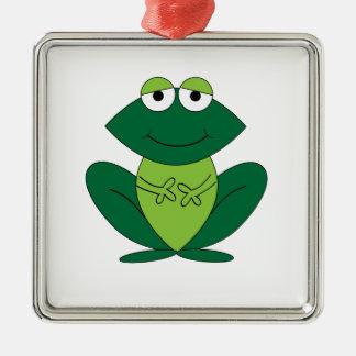 Dibujo animado feliz de la rana ornamento de reyes magos