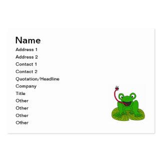 Dibujo animado feliz de la rana plantilla de tarjeta de negocio