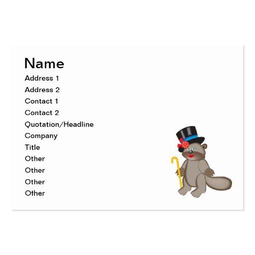 Dibujo animado feliz del castor tarjetas de visita grandes