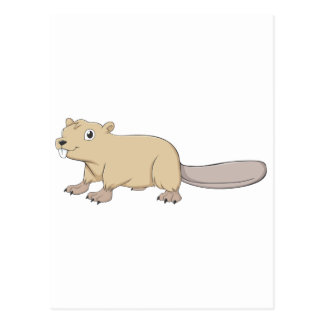 Dibujo animado feliz del castor tarjetas postales