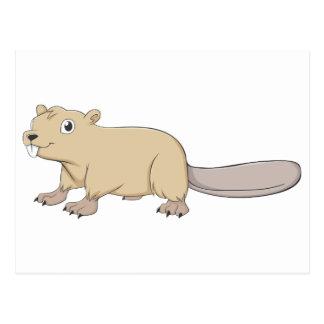 Dibujo animado feliz del castor tarjeta postal