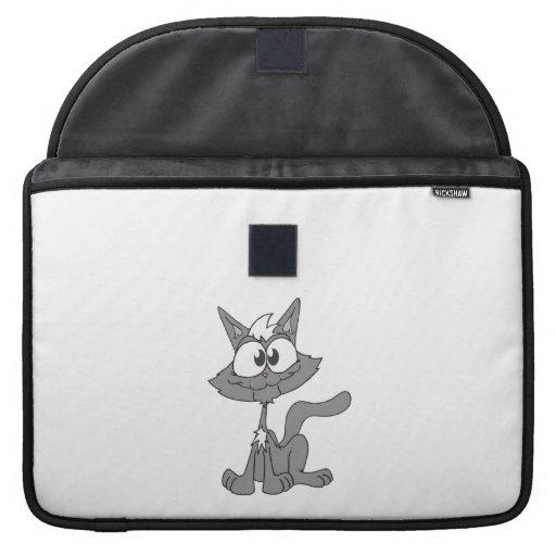 Dibujo animado feliz del gato fundas para macbook pro