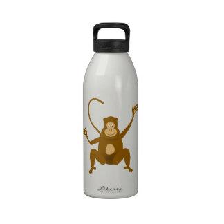 Dibujo animado feliz del mono botella de agua reutilizable