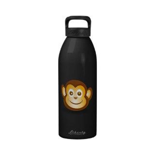Dibujo animado feliz del mono botellas de agua reutilizables
