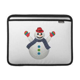 Dibujo animado feliz del muñeco de nieve fundas para macbook air