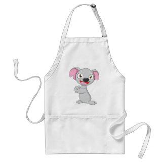Dibujo animado feliz del oso de koala delantal