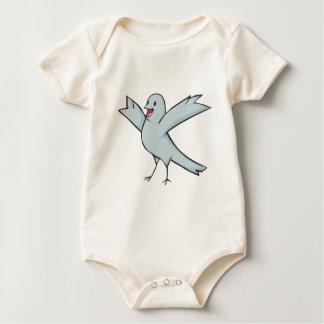Dibujo animado feliz del pájaro de la paloma mamelucos de bebé