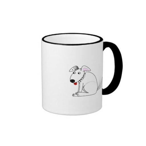 Dibujo animado feliz del perro taza a dos colores
