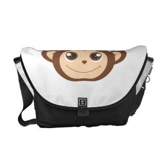 Dibujo animado feliz lindo del mono bolsa messenger