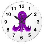 Dibujo animado feliz púrpura del pulpo reloj redondo grande
