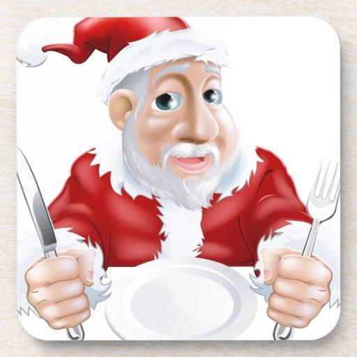 Dibujo animado feliz Santa listo para la cena de n Posavaso