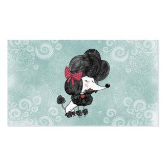 Dibujo animado femenino del caniche francés elegan tarjetas de negocios