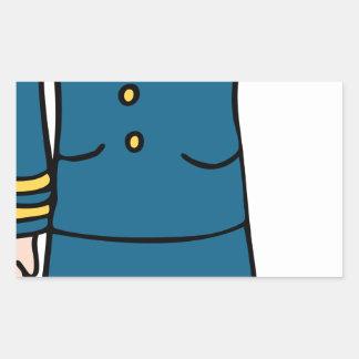 Dibujo animado femenino del oficial de ejército pegatina rectangular