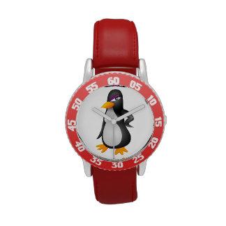 Dibujo animado femenino del pingüino reloj de mano