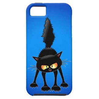 Dibujo animado feroz divertido del gato negro iPhone 5 cárcasa