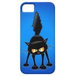Dibujo animado feroz divertido del gato negro iPhone 5 carcasa
