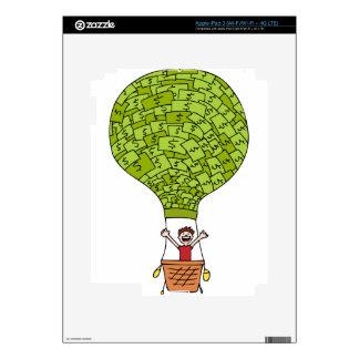 Dibujo animado financiero del globo del dinero pegatina skin para iPad 3