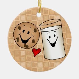 Dibujo animado fresco de las galletas y de los adorno navideño redondo de cerámica