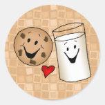Dibujo animado fresco de las galletas y de los pegatina redonda