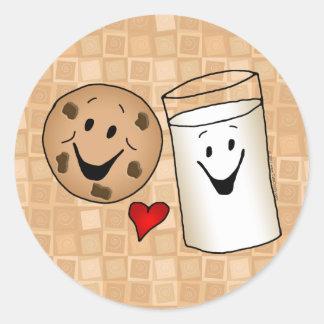 Dibujo animado fresco de las galletas y de los etiqueta redonda